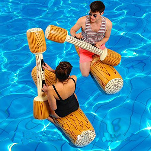 CFTech Inflatable Pool Floats Pool Party Play Boat Raft Collision Toys Wood Grain Seat Mounts Water Swimming Floating Row for Kids/ Adults, Max Weight 220lb