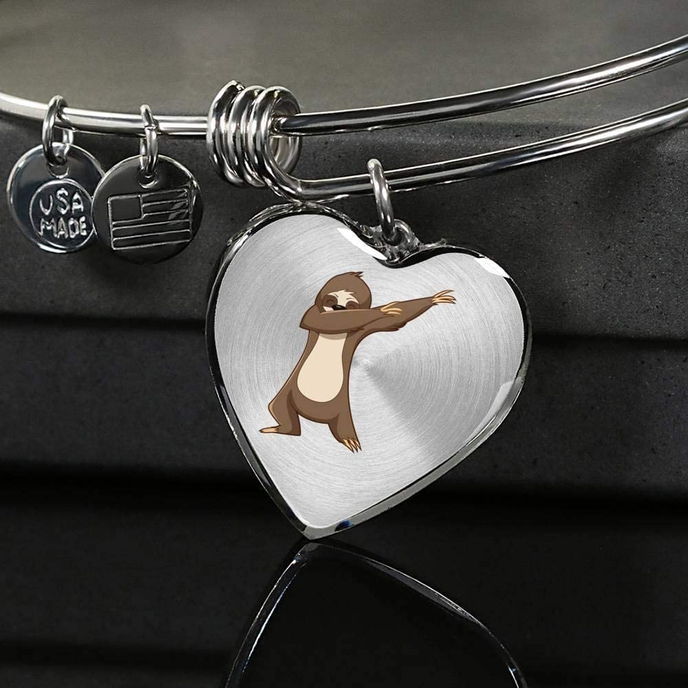Dabbing Gifts Sloth Lovers Sloth Womens Pendant Bangle Bracelet