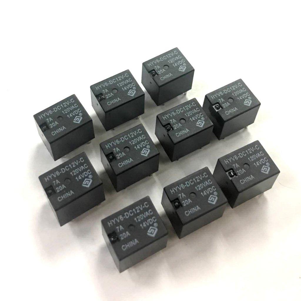 Homyl 10 x 20A 12V Relais 5-Polig Schalter Automobil Relais Schwarz PCB-Relais