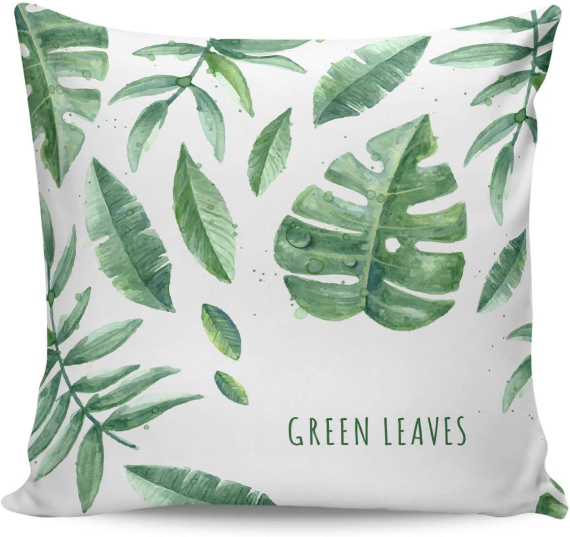 Winter Rangers Fundas de almohada decorativas, diseño de hojas verdes, flores de verano, ultra suave, funda de cojín cuadrada cómoda para sofá dormitorio, 66 x 66 cm