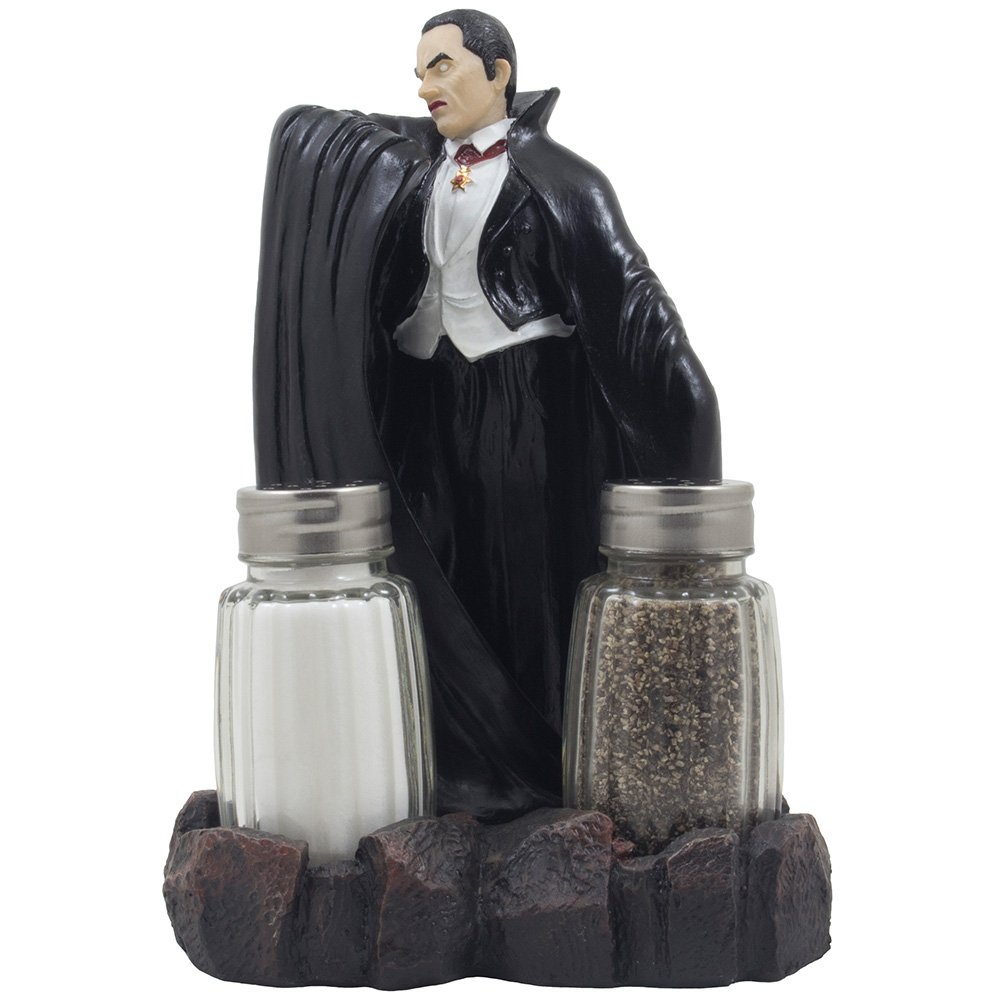 Spooky Count Dracula Vampire Salt and Pepper Shaker Set with Decorative Display Stand Holder Figurine for Horror Movie Theater Decor or Scary Halloween Decorations As Creepy Gothic Gifts