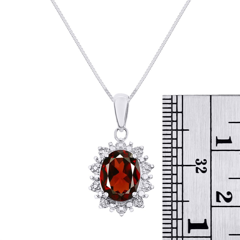 Rylos Diamond & Garnet Pendant Necklace Set in 14K White Gold with 18'' Chain Princess Diana Inspired Halo by Rylos (Image #3)