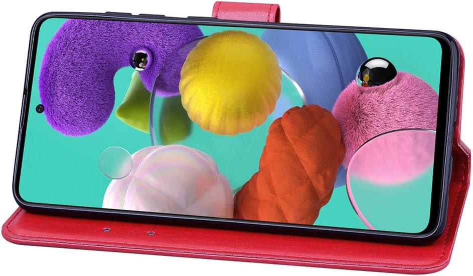 Marr/ón HAOYE Funda para Samsung Galaxy A51 Funda Cubierta Magn/ética en Relieve de la Rosa Billetera con Soporte//Tapa Tarjetas Suave PU Cuero Flip Carcasa Case Cover