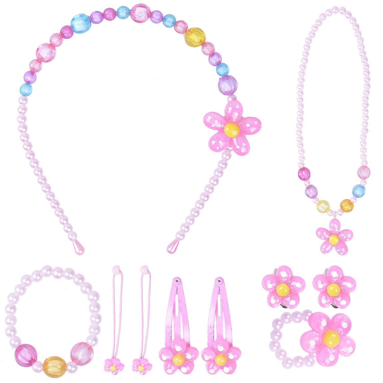Larcenciel Kids Jewelry Little Girls Necklace Bracelet Ring Earring Set Candy Colors Necklaces Children Play Pretend Dress Up
