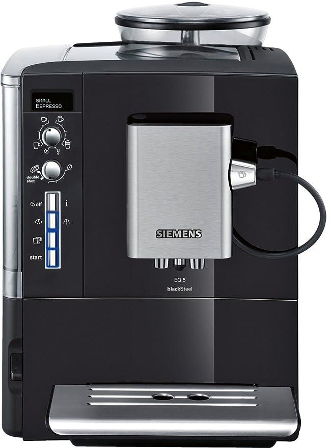 Siemens TE506519DE EQ.5 blackSteel - Cafetera automática, 1600 W, 1.7 L, sistema externo para leche, color negro lacado