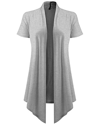 lymanchi Women Open Front Soft Cardigans Cover Up Drape Short ...
