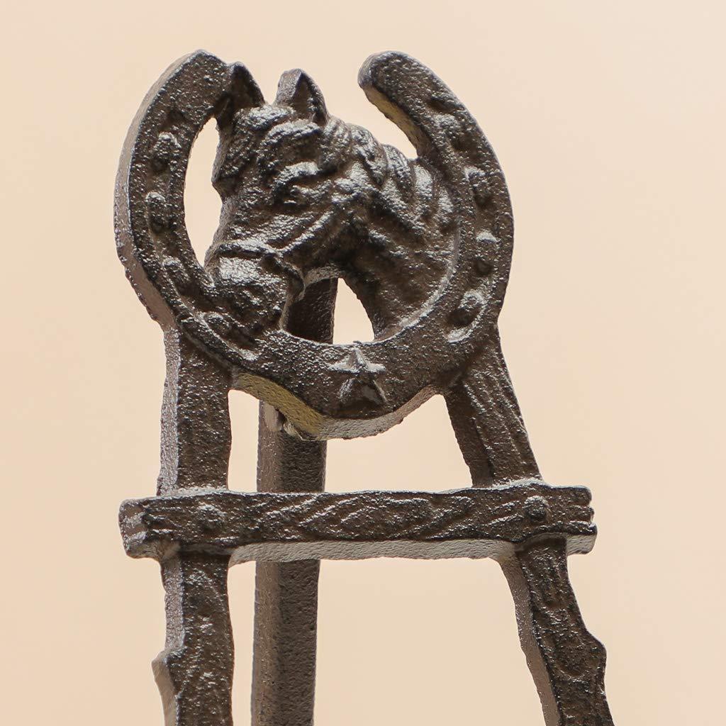 Caballete plegable de hierro fundido con dise/ño de herradura marr/ón antiguo