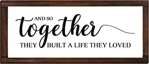 Jetec and So Together They Built a Life They Loved Sign Rustic Farmhouse Decor Rustic Farmhouse Modern Decor Framed Wood Sign Hanging Plaque for The Home Sign Wall Decorations, 14 x 6.4 Inches
