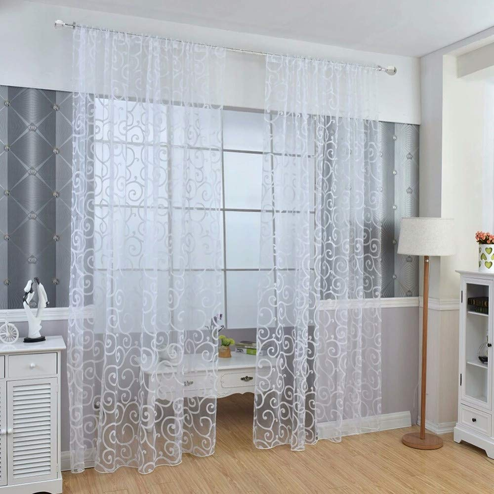 Buy certainpl 39 3 x 78 7 sheer curtains window voile panels for bedroom kitchen set of 2 one size white online at low prices in india amazon in