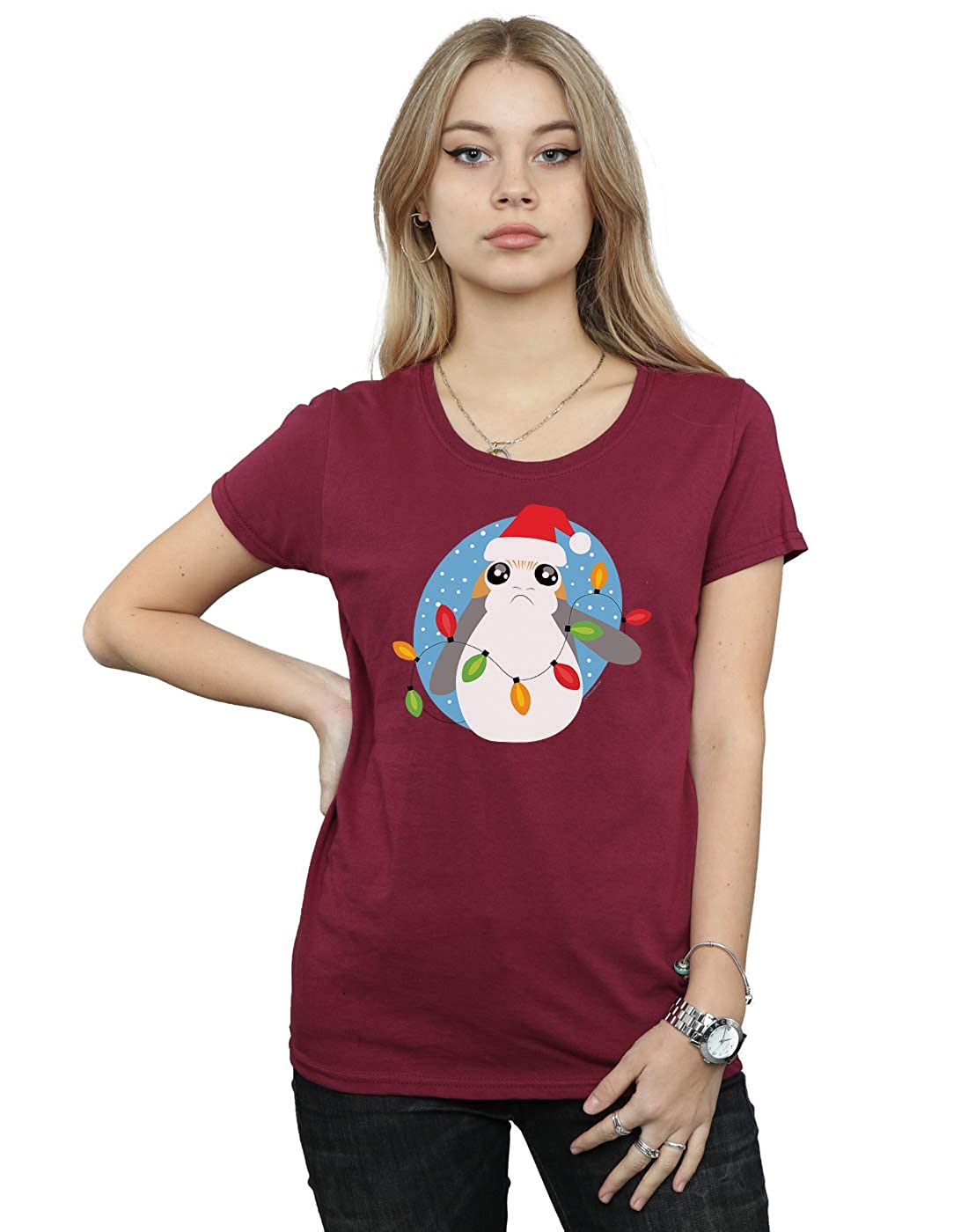 Star Wars Mujer The Last Jedi PORG Christmas Lights Camiseta