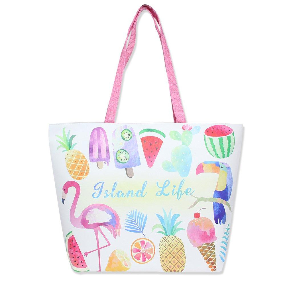 Colorful Summer Printed 18 inch Zipper Top Beach Tote Bag (Island Life Print)