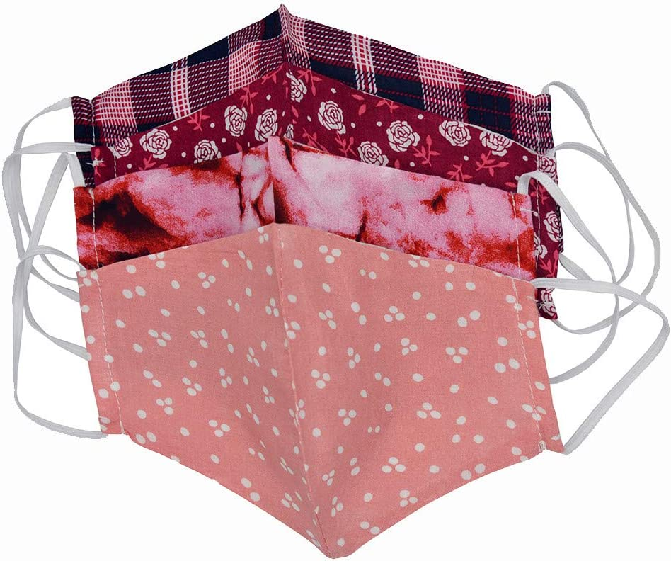 A ZZXIAN Multifunktionstuch 4pcs Erwachsene Kinder Waschbar Staubschutz Bandana Cover Mundtuch Windschutz Handmade Baumwolle Atmungsaktiv