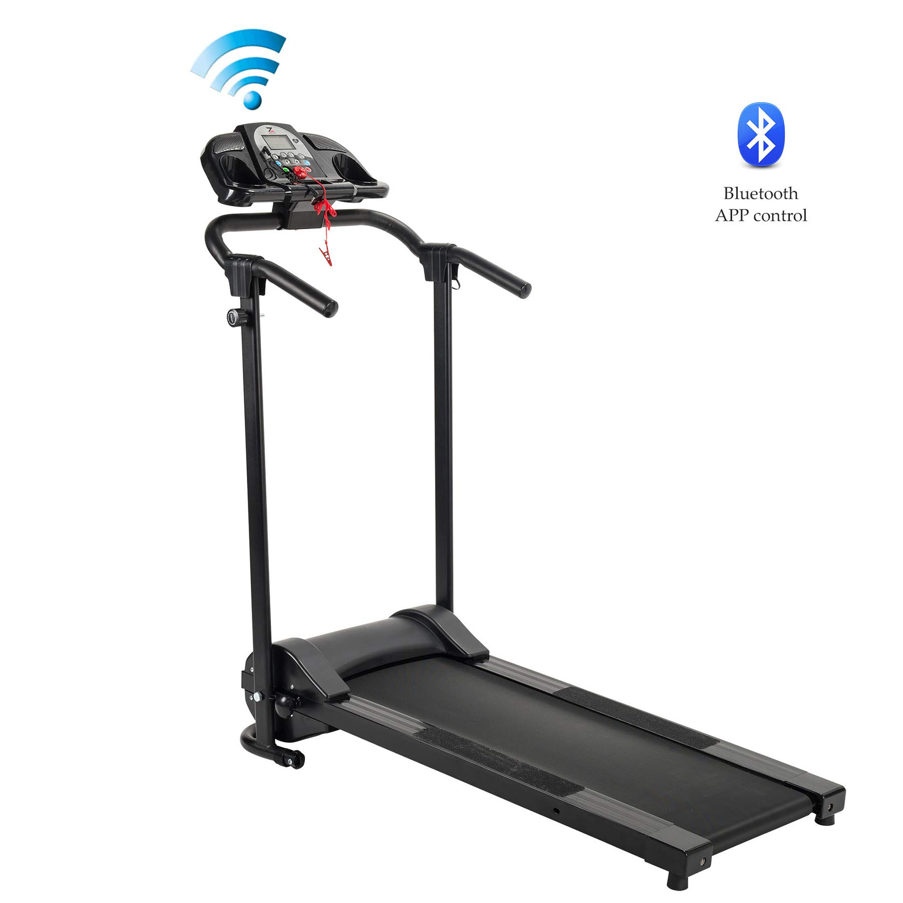 ZELUS Folding Treadmill Electric Motorized Running Machine with Downloadable Sports App Control Walking and Running, Cup Holder, MP3 Player and Wheels Easy (Treadmill with APP Control)