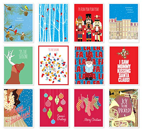 - Apartment 2 Cards 12 Mix Value Pack Assorted Christmas Holiday Premium Greeting Cards - Set of 12