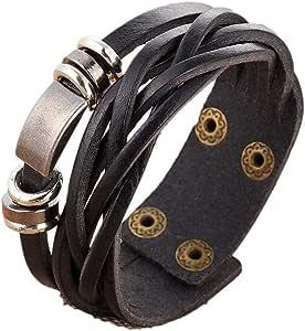 Retro Personality Male Street Leather Cowhide Bracelet - Black