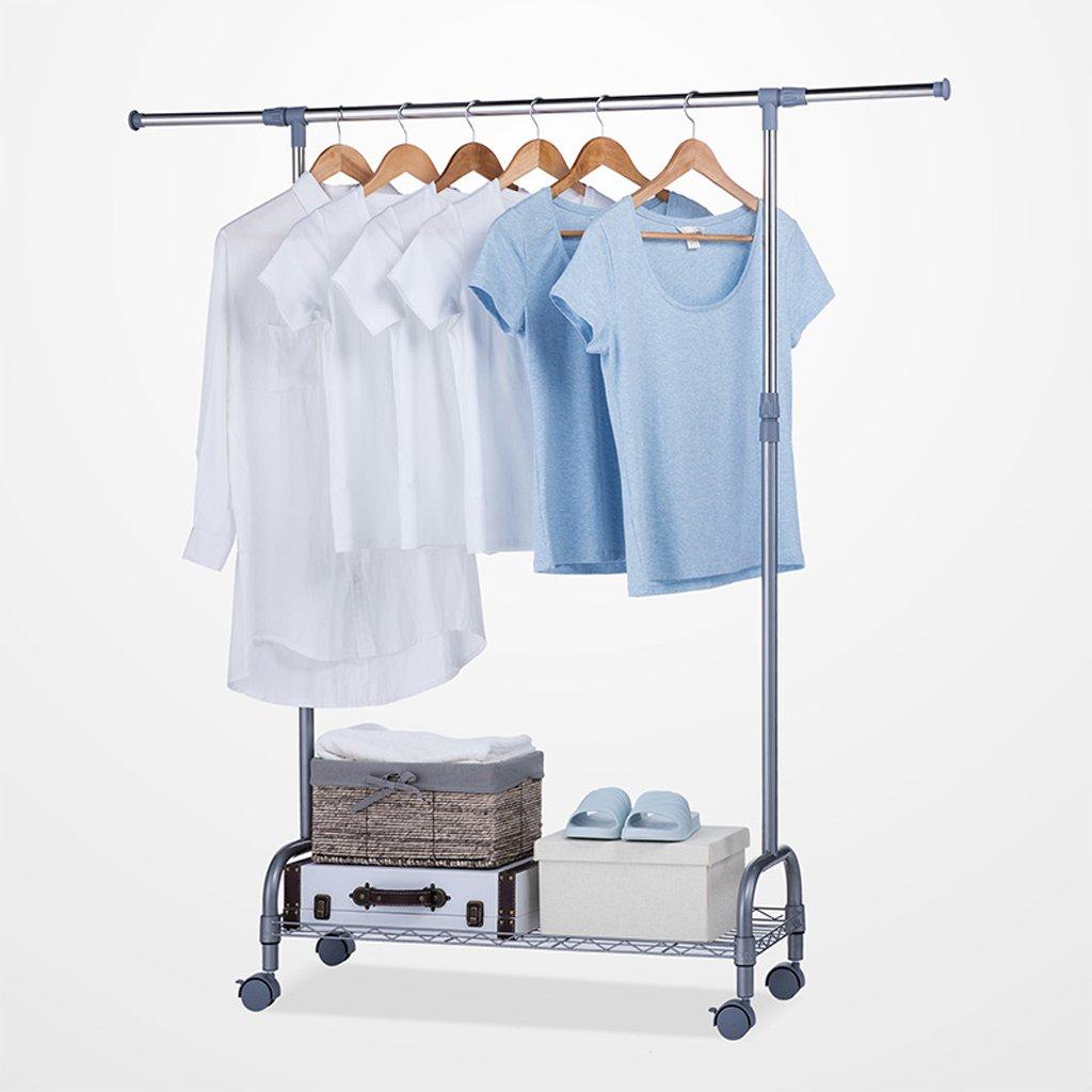 GLJJQMY 調節可能な衣服レールローリング床乾燥ラック、収納、靴箱、98-140cmxW34xH100-172cm、(ステンレス鋼) 乾燥ラック (色 : シルバーグレー) B07S16GR7Q シルバーグレー
