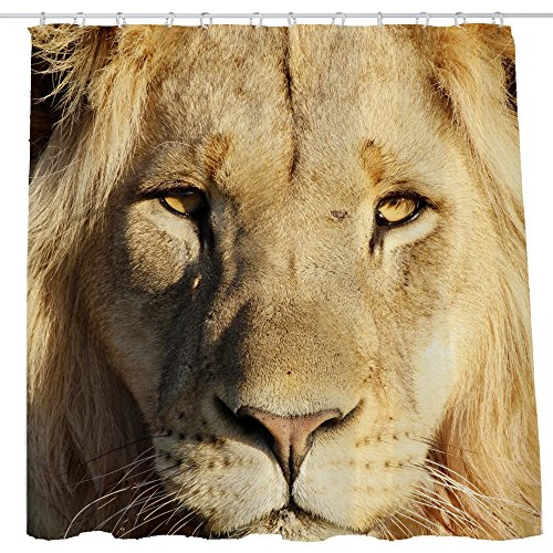 Shower Curtain Cloth Fabric Waterproof Non-Toxic Polyester Decoration Shower Curtain Room 12 Self Grommets Real Lion Head 72x72 inch (180x180cm) (15)