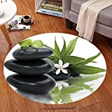 Sophiehome Soft Carpet 24763882 Spa still life with black stones and bamboo leafs in the water Anti-skid Carpet Round 47 inches