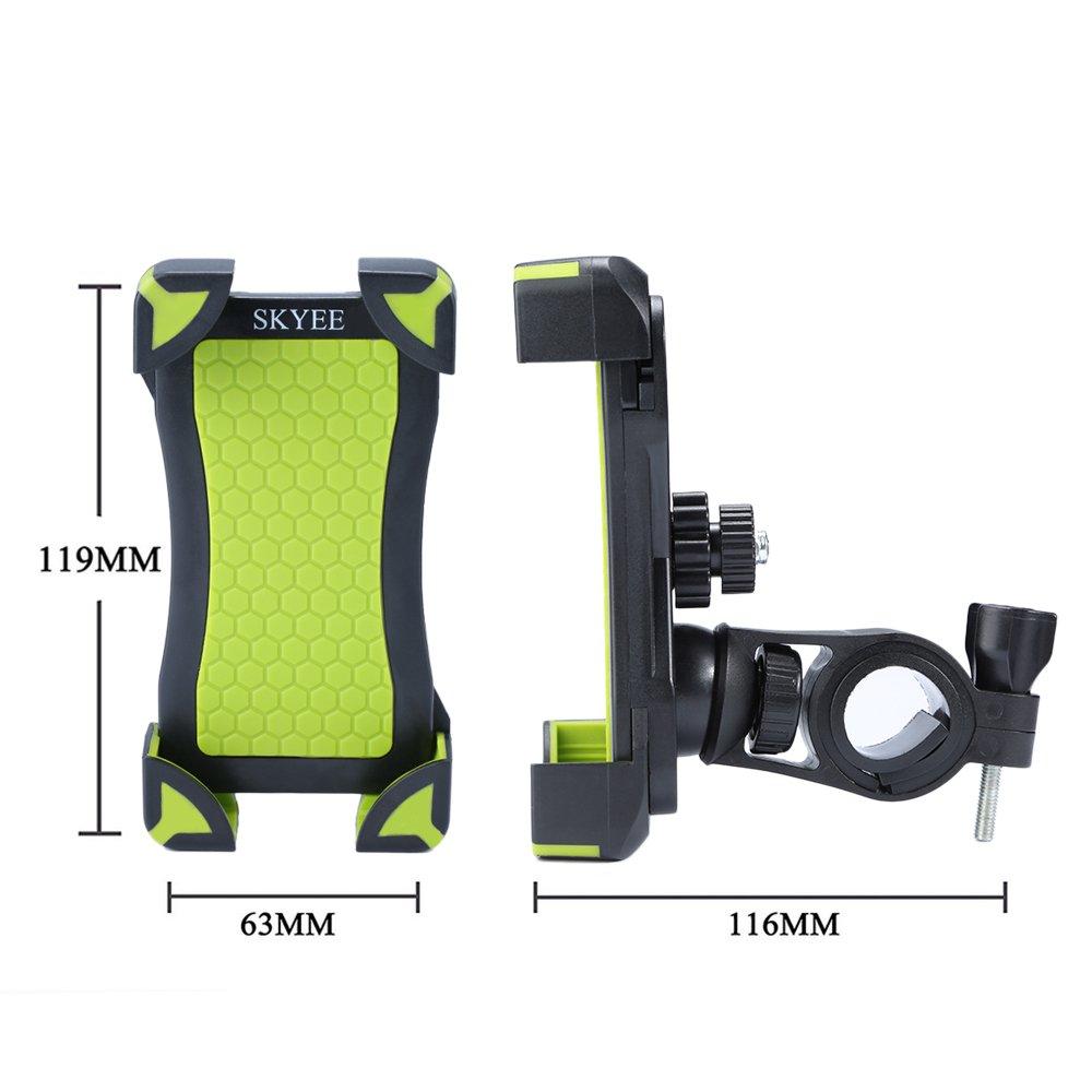 Universel Support V/élo T/él/éphone R/églable Support VTT Rotatif /à 360 pour T/él/éphone de 4-6,5 Pouces pour iPhone X//8//8 Plus Sumsung Galaxy S8//S9 et Autres Vert//Noir SKYEE Support V/élo Smartphone
