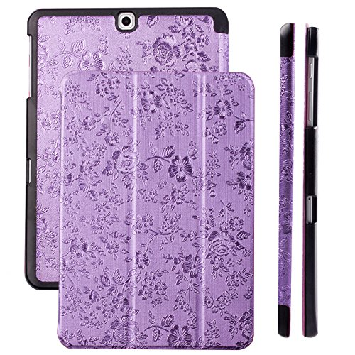 Samsung Galaxy Tab S2 8.0 Case | Bouquet purple | iCues Ancho Cover with Stand | other Leather - color variations available | Protective Flip Wallet Bling Glitter Floral Flower Chrome Girl (Motiv Glass Tray)