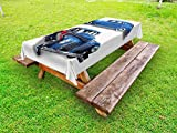 Ambesonne Vintage Car Outdoor Tablecloth, Picture of Old Antique Cars Historical Automobile Nostalgic in Vintage Style, Decorative Washable Picnic Table Cloth, 58 X 84 Inches, Blue Red
