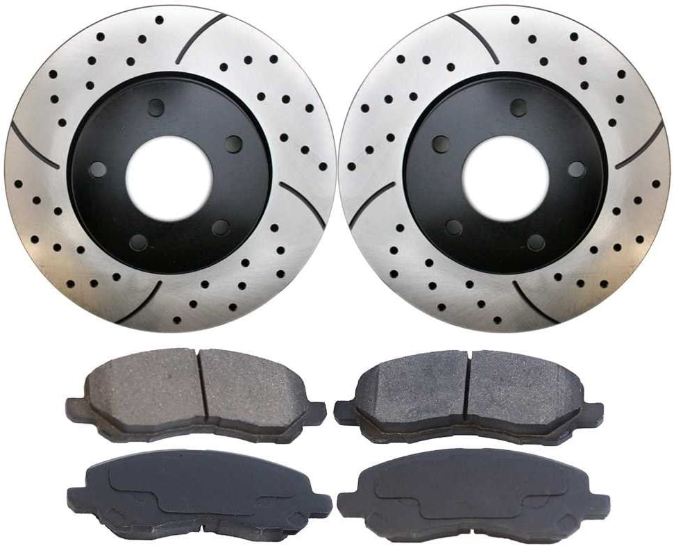 Prime Choice Auto Parts SCDPR6301463014965 Pair of Drilled and Slotted Rotors and Premium Ceramic Brake Pads