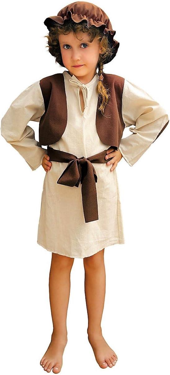 Hirten Disfraz de Belén Juego Niños Chica de algodón marrón beige ...