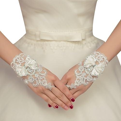 BELLA-Guanti Corti Donna Pizzo in Raso Floreale Strass Senza Dita Bowknot Gloves Festa Matrimonio