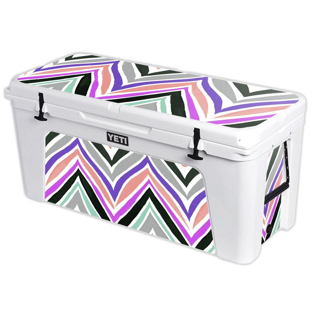 MightySkins Protective Vinyl Skin Decal for YETI Tundra 160 qt Cooler wrap Cover Sticker Skins Colorful Chevron by MightySkins (Image #1)