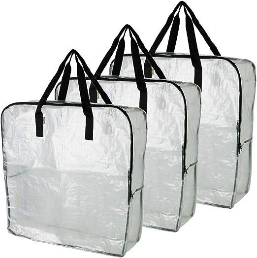 Ikea Dimpa Lot De 3 Sacs De Rangement Xl Transparents Et Resistants A L Humidite Amazon Fr Cuisine Maison