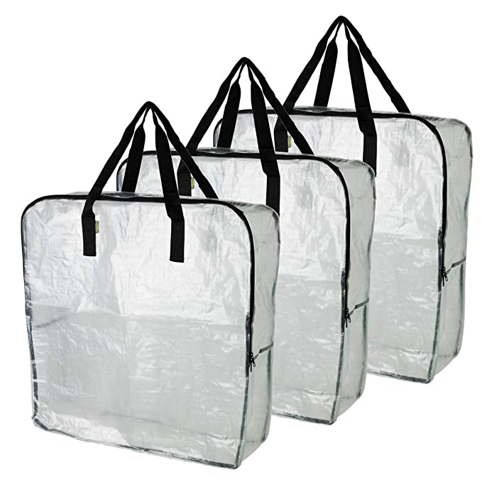IKEA DIMPA 3 Bolsas de Almacenamiento extragrandes, Bolsas de Almacenamiento Transparentes, Resistentes, protección de polillas y Humedad: Amazon.es: Hogar