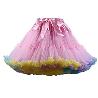 SCFL Womens Tutu Costume Ballet Dance Multi Layer Puffy Skirt Adult Luxurious Soft Chiffon Petticoat