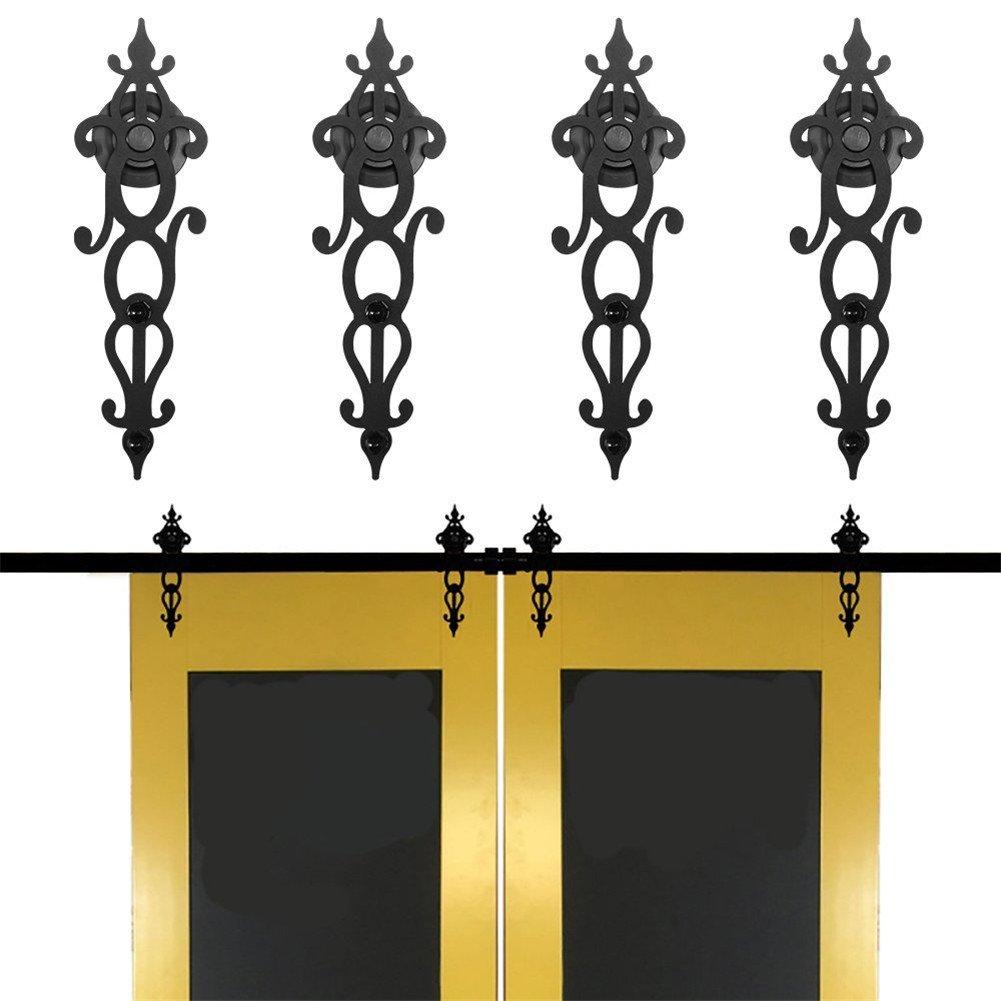 KIRIN Sliding Barn Door Hardware Systerm Double Wood Doors Interior Closet Decor Vintage Style Art Shape Door Hardware Track (13FT)
