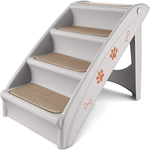 Flexzion Pet Stairs, Folding Plastic Ladders Step Ramp for Dog Cat Animal, Foldable and Portable for Indoor Outdoor, Ideal for Small to Medium Breed Dog Puppy, Cat