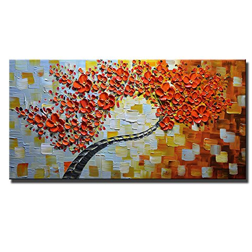 Asdam Art - Maple Tree 100% Hand Painted Paintings Red Pictures Abstract Art Large Wall Art For Living Room Artwork on Canvas Ready To Hang Framed Art For ...  sc 1 st  Amazon.com & Large Wall Art for Living Room: Amazon.com