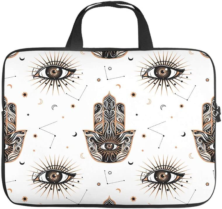 Stylish Laptop Sleeve Mysterious Eyes Hamsa Lamp Hand Full Printed Laptop Case Slim Neoprene Fabric Laptop Bag Tablet Accessory White 12inch