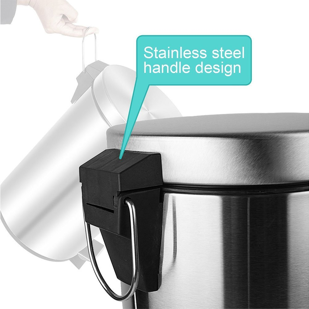 H+LUX Trash Can Stainless Steel, Round Mini Trash Can with Soft Close Lid, Removable Inner Wastebasket, Fingerprint Resistance, 0.8 Gallon/3 Liter