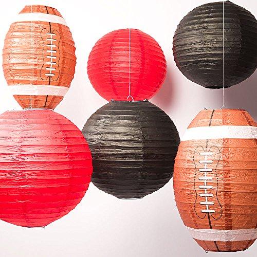 Quasimoon PaperLanternStore.com Atlanta Pro Football Paper Lanterns 6pc Combo Tailgating Party Pack (Black/Red) ()