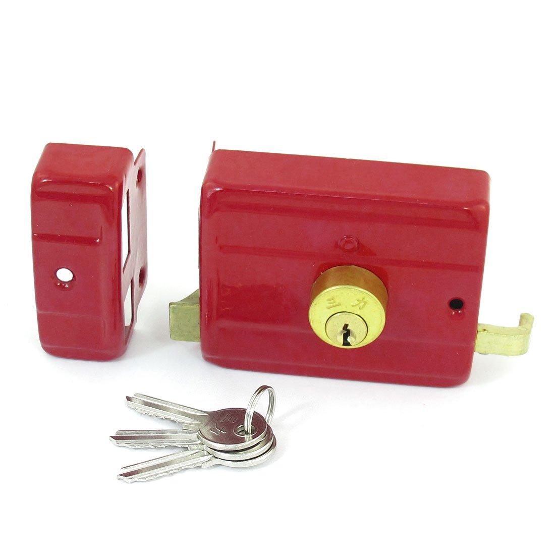 sourcingmap Métal rouge accueil Chambre Double porte porte sécurité Verrouillage pêne clés a13082700ux1306