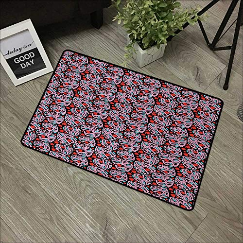 Corridor door mat W31 x L47 INCH I Love You,Composition of the Letters in the Shape of a Heart Declaration of Love Feelings,Multicolor Easy to clean, no deformation, no fading Non-slip Door Mat Carpet