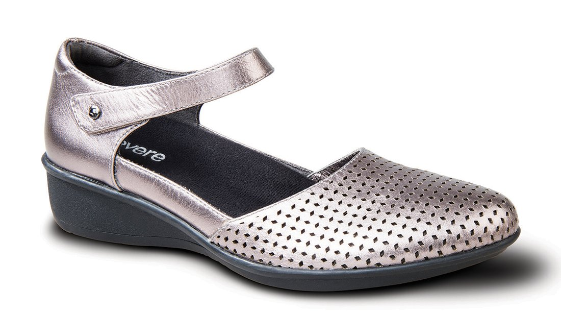Revere Osaka Women's Comfort Shoe with Removable Foot Bed and Adjustable Strap: Gunmetal 7 Medium (B) Velcro