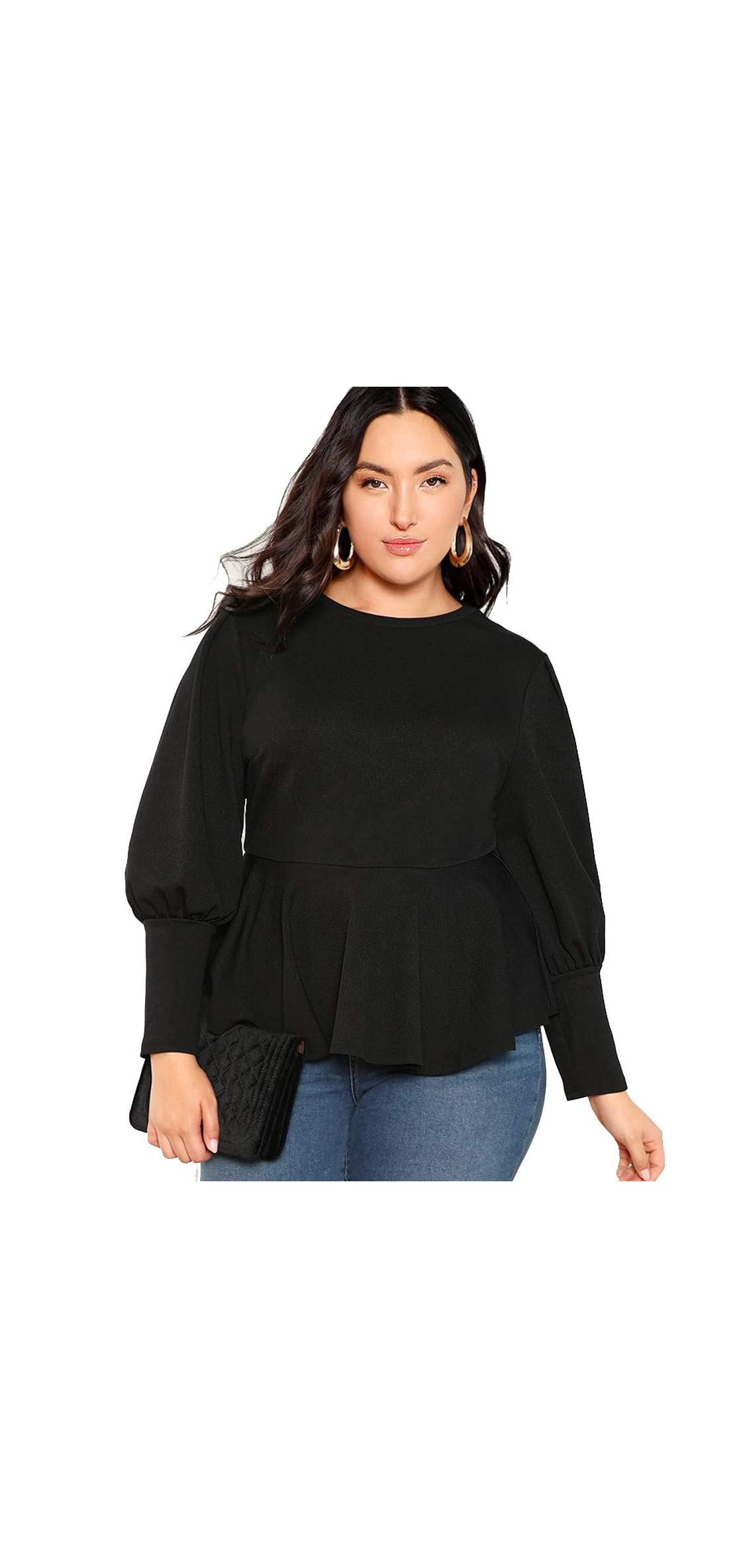Women's Plus Size Solid Long Sleeve Flounce Ruffle Hem Top