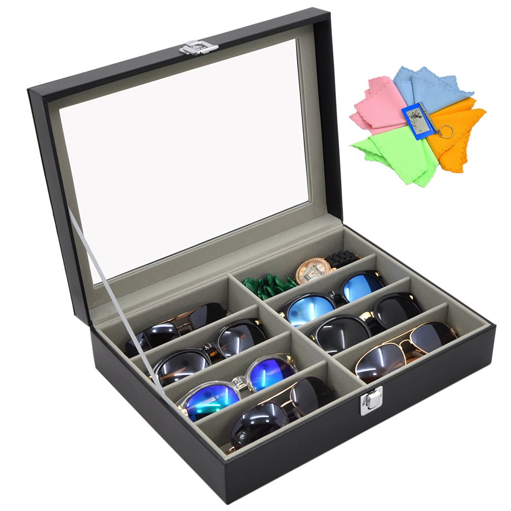 ADTL Grey Sunglass Organizer flannel Inside 8 Slots Eyeglass Sunglass Case Glasses Display Box