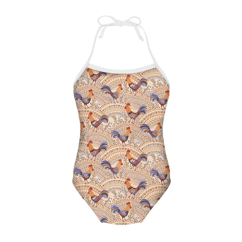 FUIBENG Animal Chicken One-Piece Halter Bikini Swimwear Little Kid Beachwear