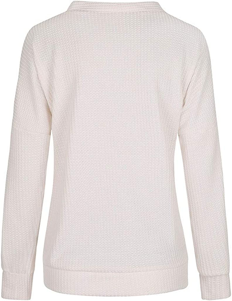 Womens Loose Plus Size Sweatshirt Solid Long Sleeve V-Neck Button Pullover Tops Shirt White