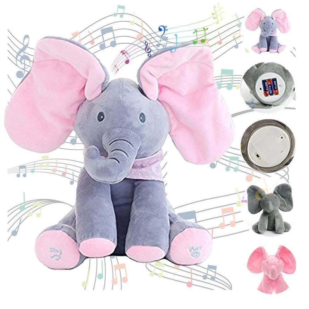 Talking Singing Elephant Plush Toy Music Elephant Baby Toy Music Elephant Soft Dolls Toys Baby Animated Elephant Plush Cute Toys Gift Stuffed Doll for Baby Toddlers Kids Boys Girls Gift Present