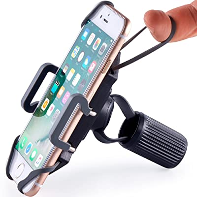 Bike & Motorcycle Phone Mount - for iPhone 11 (Xs, Xr, 8, Plus/Max), Galaxy S20 or Any Cell Phone - Universal Handlebar Holder for ATV, Bicycle and Motorbike. +100 to Safeness & Comfort