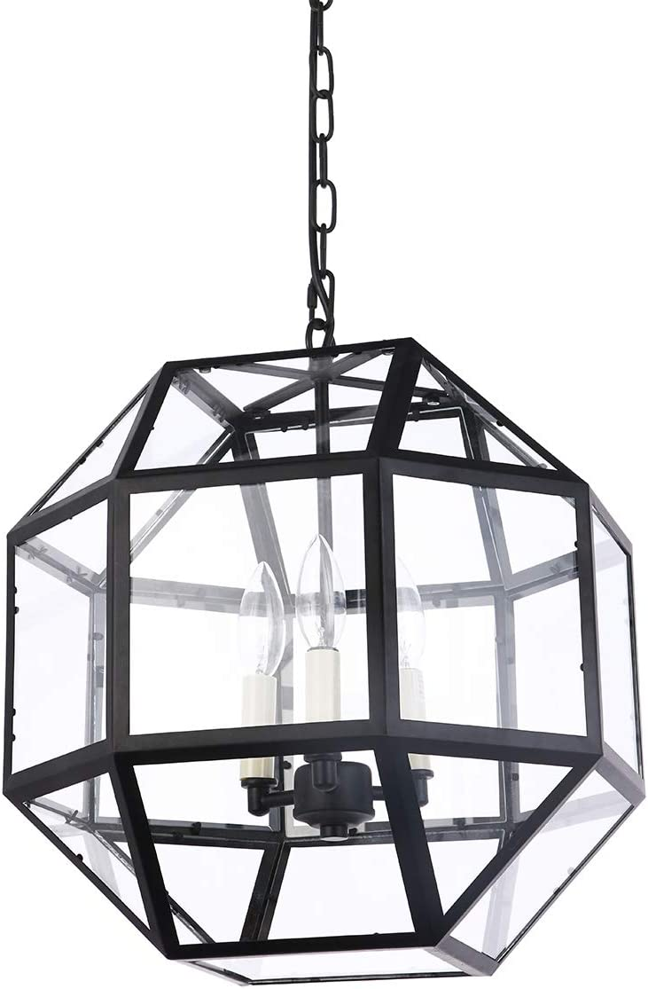 Foyer Lantern Pendant Lighting Fixture with Clear Glass, A1A9 3-Light Chandelier LED Hanging Ceiling Light for Farmhouse, Dining Room, Kitchen, Hallway, D16 H15 Max Chain 45 Black