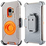 Compatible for Samsung Galaxy S9 Plus Case (Not for S9), PlusMall Rugged Shockproof Hybrid Protective Case Back Cover with Swivel Belt Clip Holster Defender Case Ring Rotating Kickstand (Grey&Orange)
