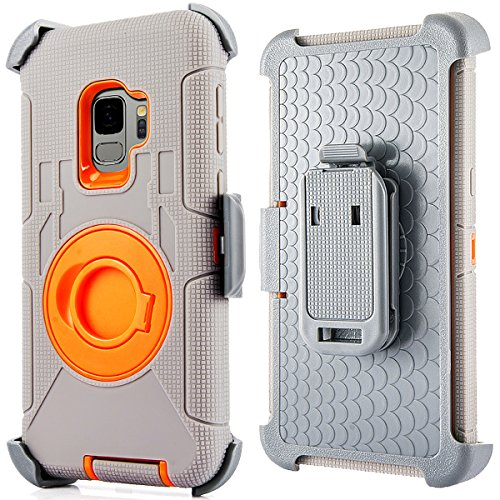 Compatible for Samsung Galaxy S9 Plus Case (Not for S9), PlusMall Rugged Shockproof Hybrid Protective Case Back Cover with Swivel Belt Clip Holster Defender Case Ring Rotating Kickstand (Grey&Orange) by PlusMall